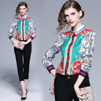 2019 Spring Summer Runway Floral Print Women Casual Long Sleeve Shirt Top Blouse
