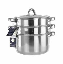 Lustro Stainless Steel 3 Tiered Steamer with Glass Vented Lid 20cm