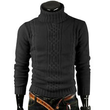 Fashion Mens Warm Slim Fit Pullover Cardigan Sweater Turtleneck Casual Knit Tops