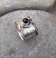 Black Onyx Solid 925 Sterling Silver Band Meditation Statement Ring Size M420