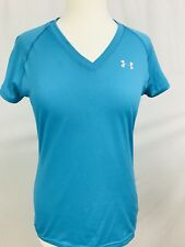 Under Armour Womens Athletic Top Shirt Sz Small Semi Fitted V Neck HeatGear Blue