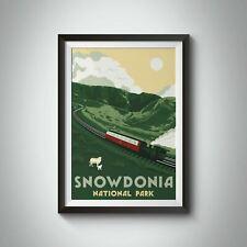 More details for snowdonia national park travel poster green - framed - bucket list prints