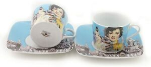 Impression Shanghai Set of Two 250cc Cappuccino Cups & Square Saucers in Gift Bo