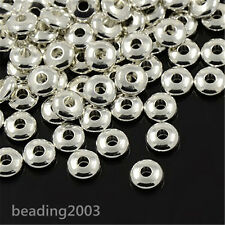 50pcs Rondelle Brass Bead Spacers Metal Beads Silver Colour Nickel Free 6x2mm