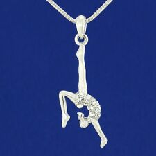 "Gymnast W Swarovski Crystal Acrobat Gymnastic Athlete Pendant Necklace 18"" Chain"
