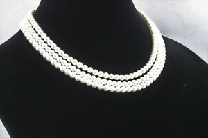 Jackie Kennedy 3 Strand Faux Pearl Necklace Franklin Mint Free Shipping