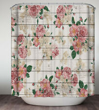 Pink Roses Rustic Planks Boards Shower Curtain Primitive Country Old Wood Flower