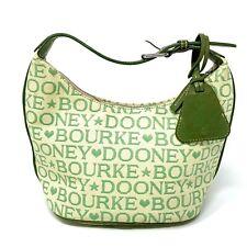 DOONEY & BOURKE Leather Trim Canvas Handbag Hobo Green Signature Purse