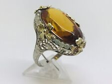 Antique Ladies 10ct White Gold Pearl & Citrine ing size K 5.01 Grams boxed