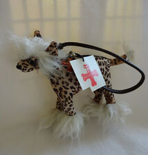 New Fuzzy Nation Chinese Crested Leopard Plush Dog Puppy Coin Purse Wristlet Bag
