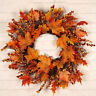Artificial Fall Wreath Door Garland Maple Leaf Home Wall Decor for Thanksgiving