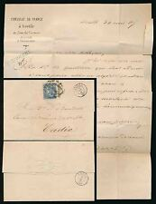 SPAIN FRENCH CONSULATE LETTER 1869 SEVILLE to CADIZ