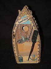 Rustic Wooden Folk Art Bird House Boat Gone Fishing Sign Anchor Bucket & Oar