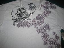 Unique Machine Size S burnout white polo shirt silver foil Rose Skull Design New