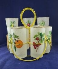Vintage Textured Coated Tumbler Glasses w/ Caddy & 3 Extra Larger Glasses