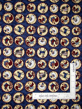 "Patriotic Fabric Primitive AnimalCow Rooster Pig Cat Medallion Blue ~ 33"" Length"