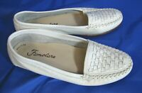 FAMOLARE Vintage WHITE LEATHER FLATS SHOES LOAFERS Woven Front/Toe BRAZIL 5.5 M