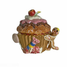 Fitz & Floyd Essentials Christmas Candy Lane Lidded Cupcake Box Vintage 2000