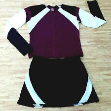 "Adult Maroon Black Cheerleader Uniform Top Skirt 42-45/35-38"" Cosplay Goth New"