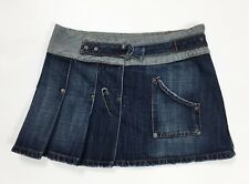 Killer loop gonna jeans minigonna S pieghe usata denim blu skirt dress hot T2989