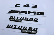 black C43 + AMG + BITURBO 4 MATIC Trunk Emblem Badge Sticker for Mercedes Benz