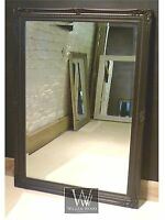 """Cannes Black Shabby Chic Rectangle Antique Wall Mirror  40"""" x 28""""  Large"""