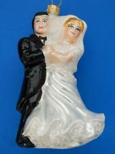 BLK JACKET BRIDE GROOM MARRIAGE WEDDING COUPLE EUROPEAN GLASS CHRISTMAS ORNAMENT