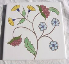 Vintage Pottery Jacobean Flowers ART TILE WALL PLAQUE TRIVET BESHEER NH Colonial