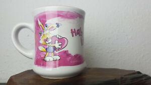 Pimboli Mimihopps Kaffeebecher Tasse rosa weiss Hab dich lieb