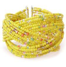 Neu ARMREIF mit kleinen PERLEN in gelb ARMREIFEN Perlenarmband ARMSPANGE Armband