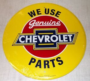 "We Use Genuine CHEVROLET Parts Bowtie 12"" Yellow Sign Chevelle Camaro Chevy Nova"