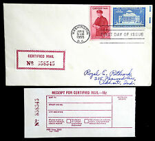 US 1955 CERTIFIED MAIL FIRST DAY COVER WITH MATCHING RECEIPT (ESP#764)