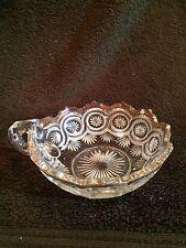 "Antique~Glass~Bowl~Scalloped~Edge~W-Handle~6"" Dia~Decor~Display~Gift~Craft~Art"
