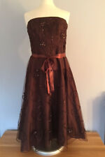 MONSOON chocolate brown PROM DRESS size 14 ribbons & beads PARTY CRUISE RACES