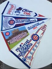 Lot of 4 Chicago Cubs Pennants  '84 WS; (2) '84 & (1) '89 Eastern Division Champ