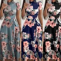 Women Short Sleeve Floral High Waist Belt Maxi Party Cocktail Summer Long Dress