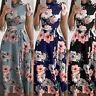 Womens Short Sleeve Floral High Waist Belt Maxi Party Slimming Summer Long Dress