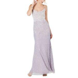 ADRIANNA PAPELL NEW Women's Beaded Cowl-neck Mesh Evening Gown Dress 6 TEDO