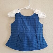 Janie And Jack 100% Linen Blue Embossed Polka Dot Shoulder Bow Tank Top 12-18M