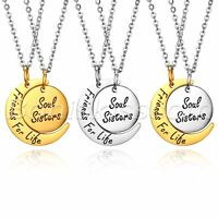 Womens Soul Sisters Friends Stainless Steel Moon Pendant Chain Necklace Set of 2