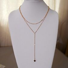 2 Layer Gold Star Bohemian Boho Ethnic Tribal Y Necklace