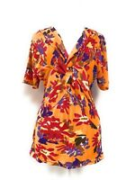 Women's V Neck Cotton Stretch Floral Printed Orange Knit Top Blouse NWT 1X–2X-3X