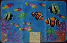 Pile Fish Bath Rug~Ocean Blue Kitchen Mat~Coral~Aquarium~Saltwa ter~Nautical~New