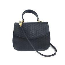 Vintage Escada Black Daisy Daisies Cross Body Shoulder Leather Purse Bag Rare