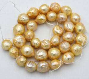 REAL NATURAL AAA 12x14mm SOUTH SEA yellow BAROQUE PEARL loose beads 15 ''