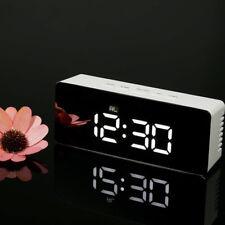 Mirror LED Alarm Clock Night Lights Modern Thermometer Digital Wall Time Clock