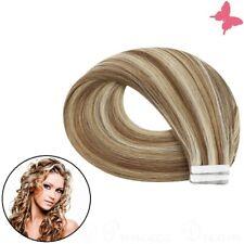 Tape In Extensions Remy Echthaar Haarverlängerung Strähnen Tressen 2,5g #12-613