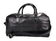 Borsone pelle nero uomo donna borsa viaggio con manici e tracolla vera pelle