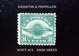 A Great VF Mint Stamp Scott #C4 – 1923 8c Radiator & Propeller, dark green