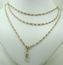 """Antique 9ct Gold Ladies 58"""" Watch Guard / Muff Chain With Clip"""